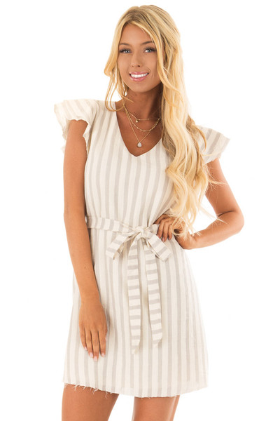 Cream Striped Layered Sleeve Dress with Waist Tie Detail front close up
