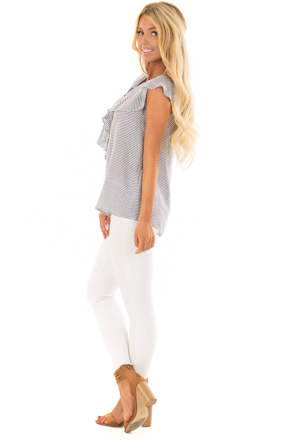 Navy and White Striped Cold Shoulder Top with Ruffle Detail side full body