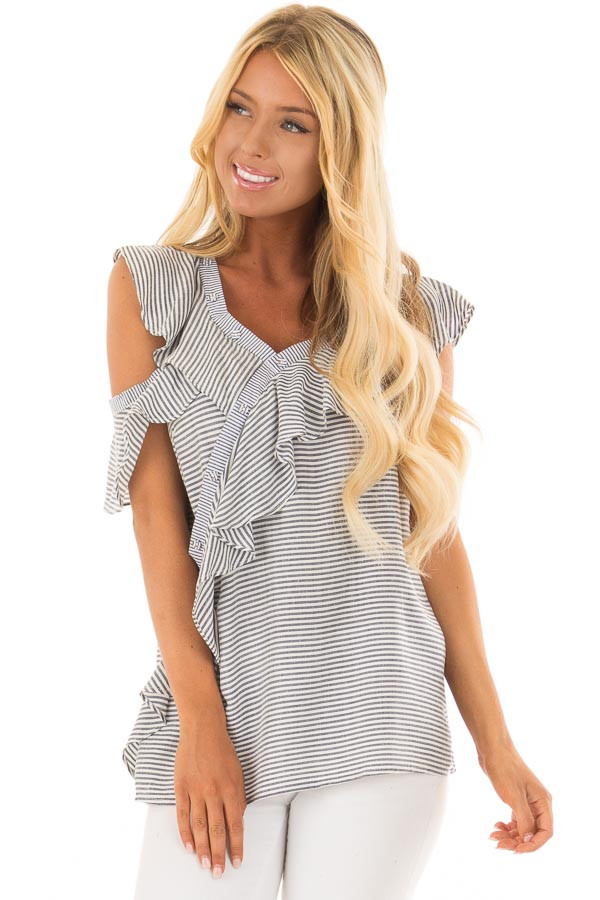 Navy and White Striped Cold Shoulder Top with Ruffle Detail front close up