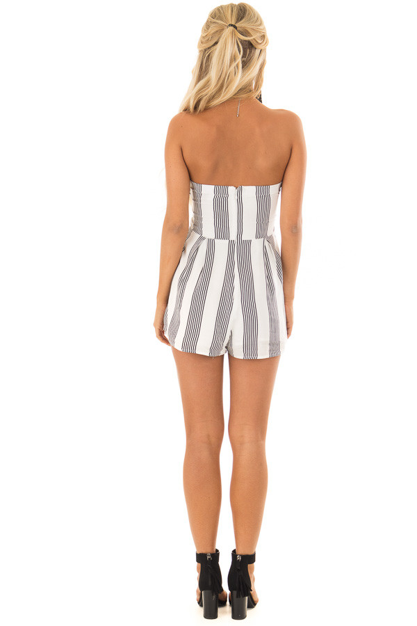 White and Black Striped Strapless Romper with Tie Front back full body