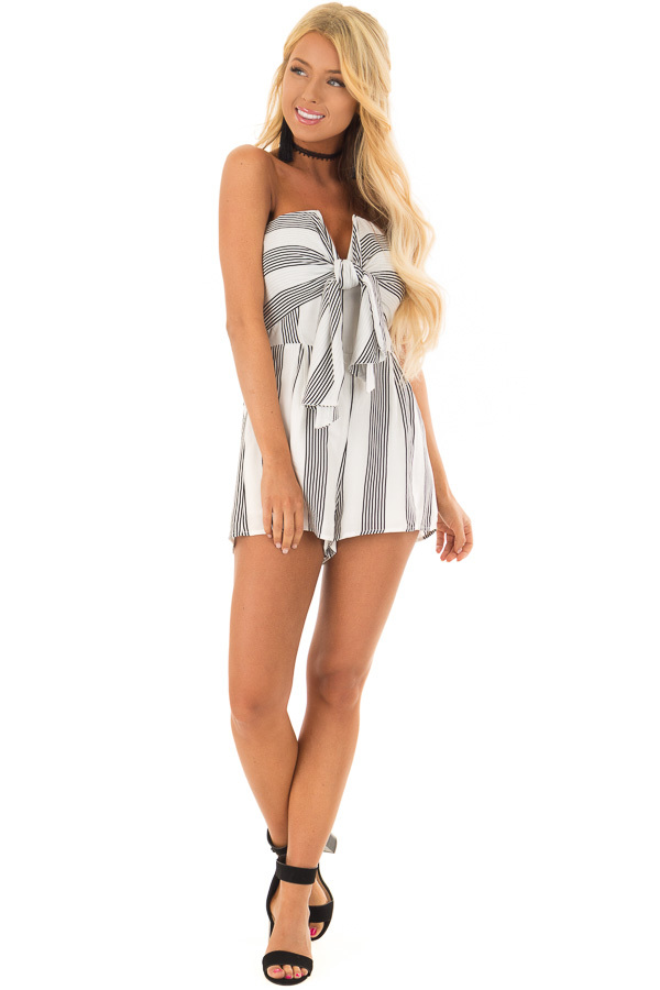 White and Black Striped Strapless Romper with Tie Front front full body