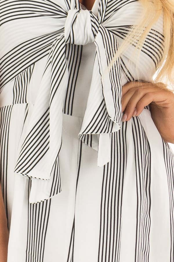 White and Black Striped Strapless Romper with Tie Front detail