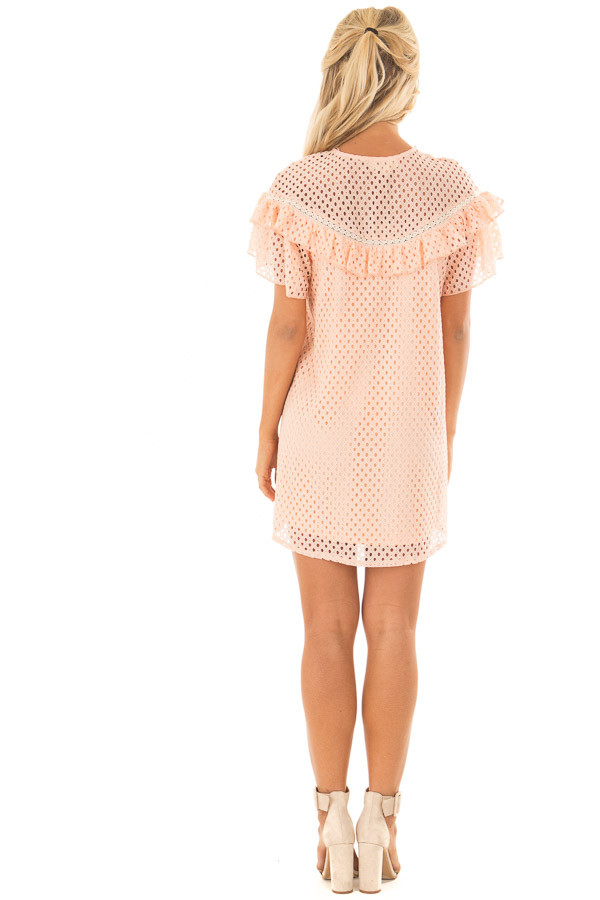 Peach Tunic Dress with Lace Detail and Ruffle Sleeves back full body