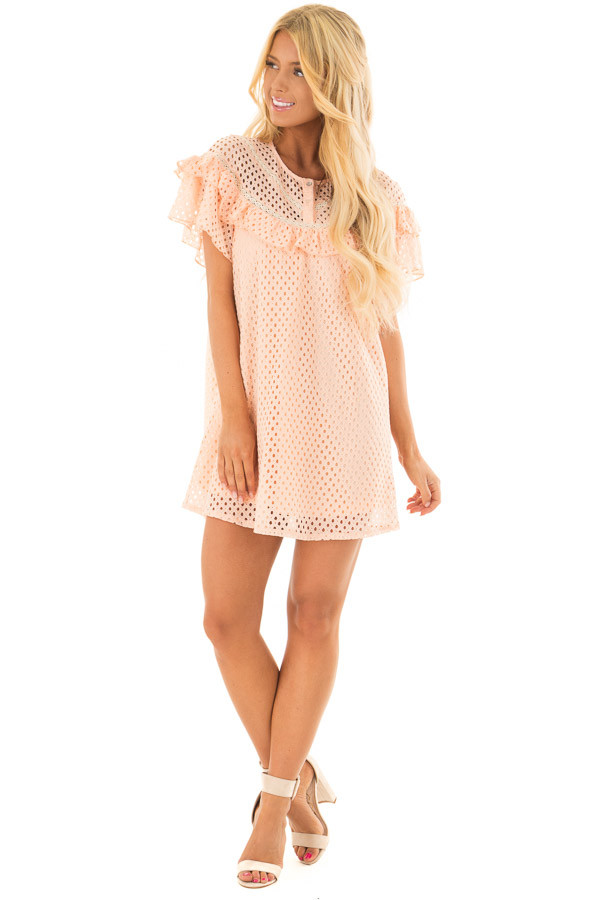 Peach Tunic Dress with Lace Detail and Ruffle Sleeves front full body