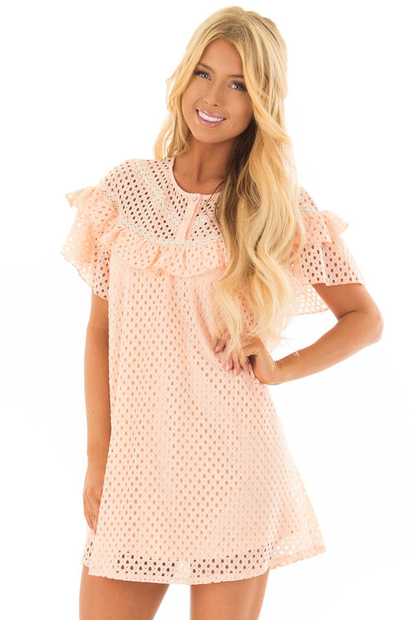 Peach Tunic Dress with Lace Detail and Ruffle Sleeves front close up