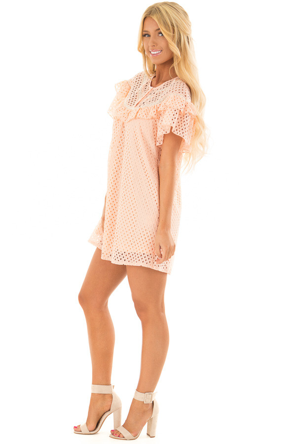 Peach Tunic Dress with Lace Detail and Ruffle Sleeves side full body