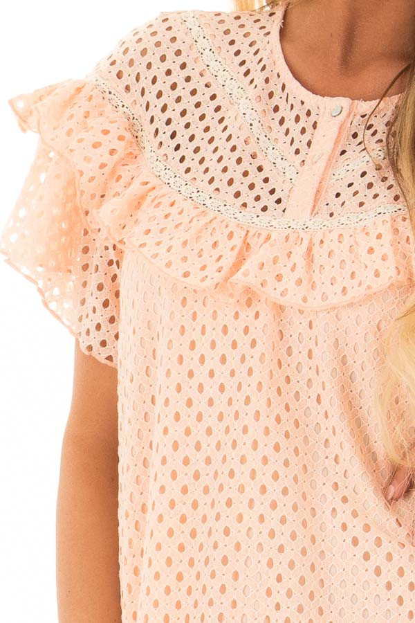 Peach Tunic Dress with Lace Detail and Ruffle Sleeves detail