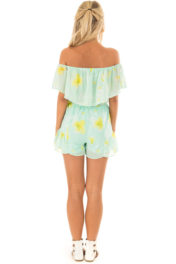 Mint and Yellow Floral Off the Shoulder Romper back full body