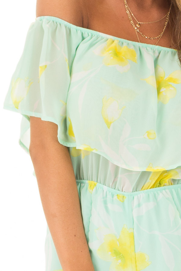 Mint and Yellow Floral Off the Shoulder Romper detail