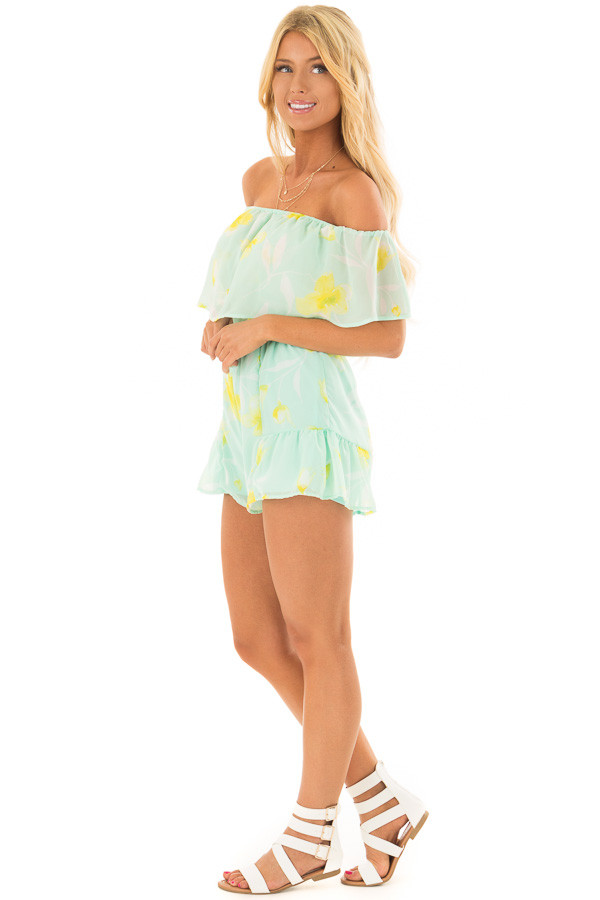 Mint and Yellow Floral Off the Shoulder Romper side full body