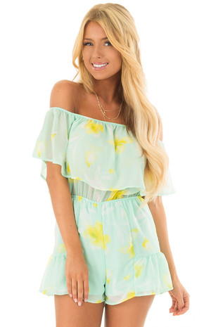 Mint and Yellow Floral Off the Shoulder Romper front close up