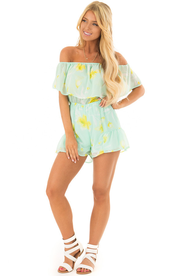 Mint and Yellow Floral Off the Shoulder Romper front full body