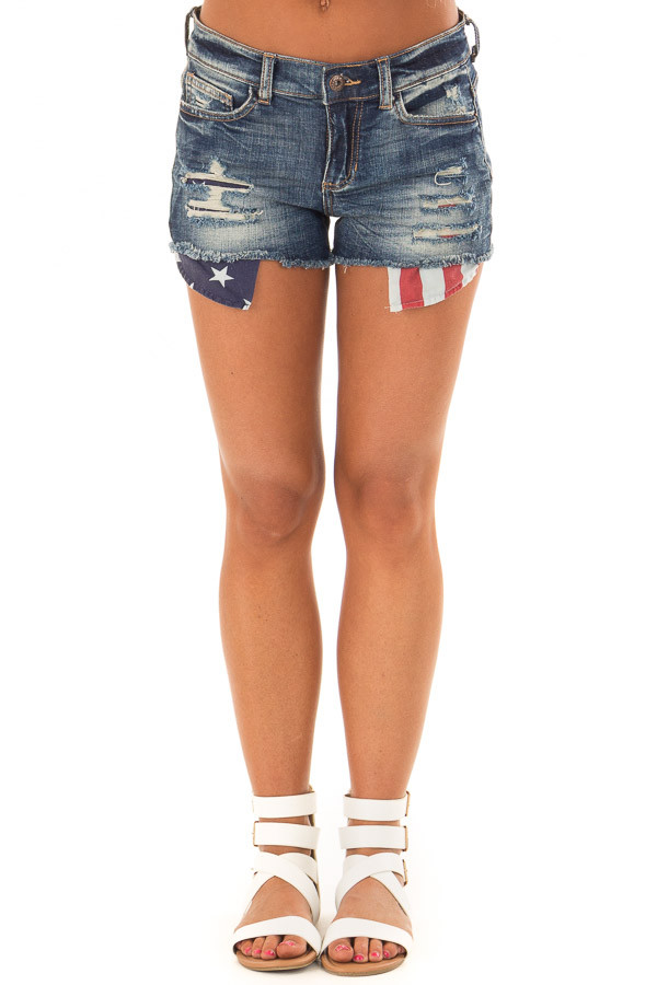 Dark Wash Distressed Shorts with Americana Exposed Pockets front view