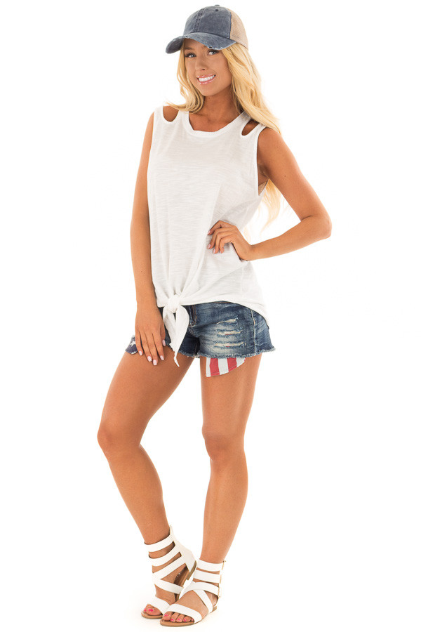 Dark Wash Distressed Shorts with Americana Exposed Pockets front full body