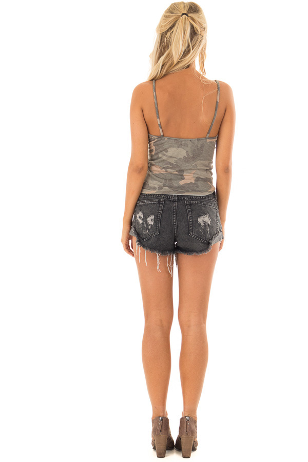 Olive Camo Button Down Tank Top with Front Tie back full body