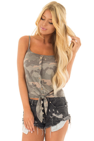 Olive Camo Button Down Tank Top with Front Tie front close up
