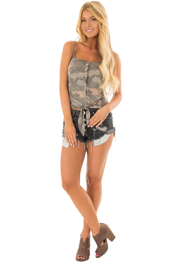 Olive Camo Button Down Tank Top with Front Tie front full body
