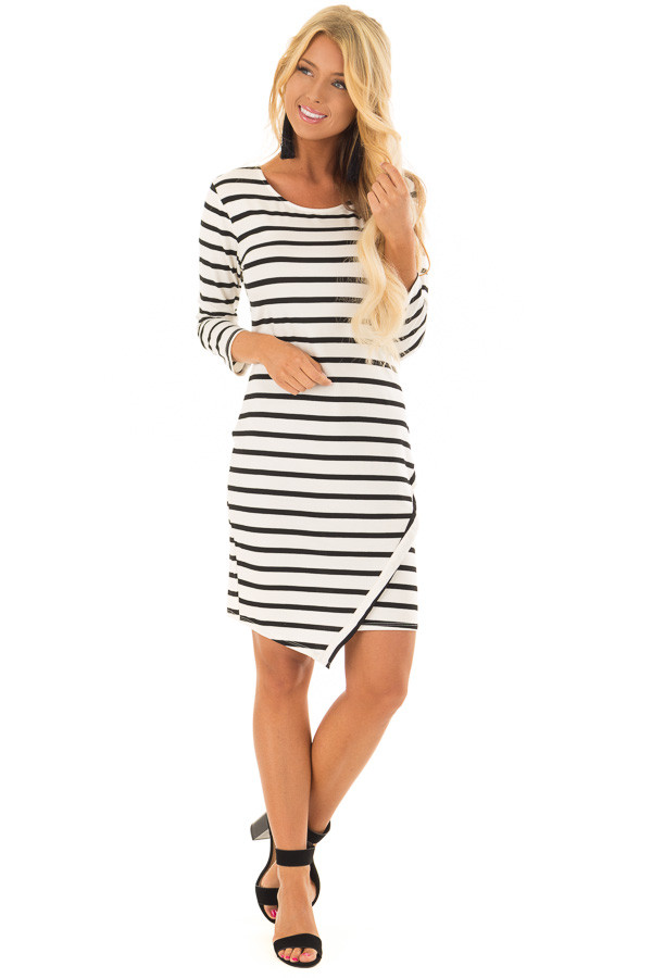 Black and Ivory Striped 3/4 Sleeve Dress front full body