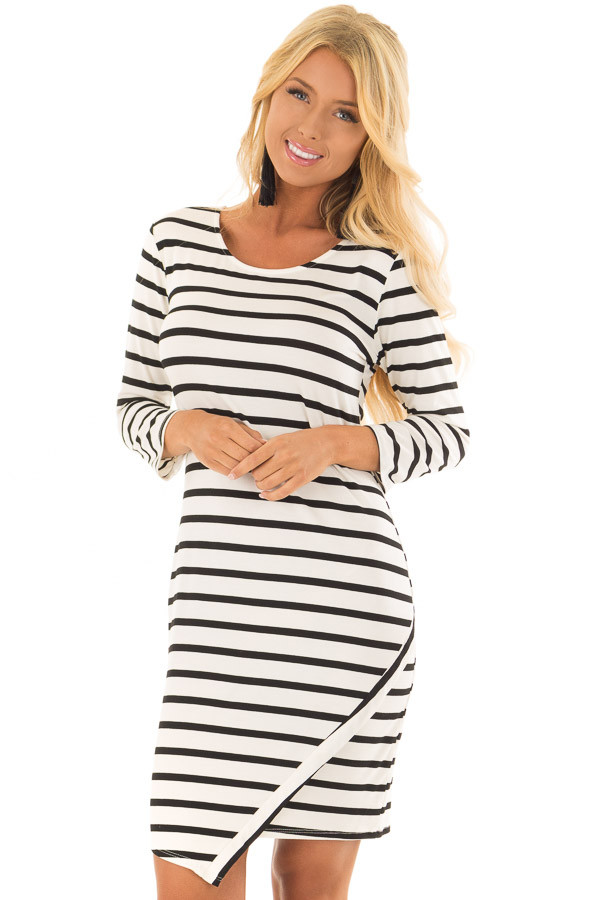 Black and Ivory Striped 3/4 Sleeve Dress front closeup