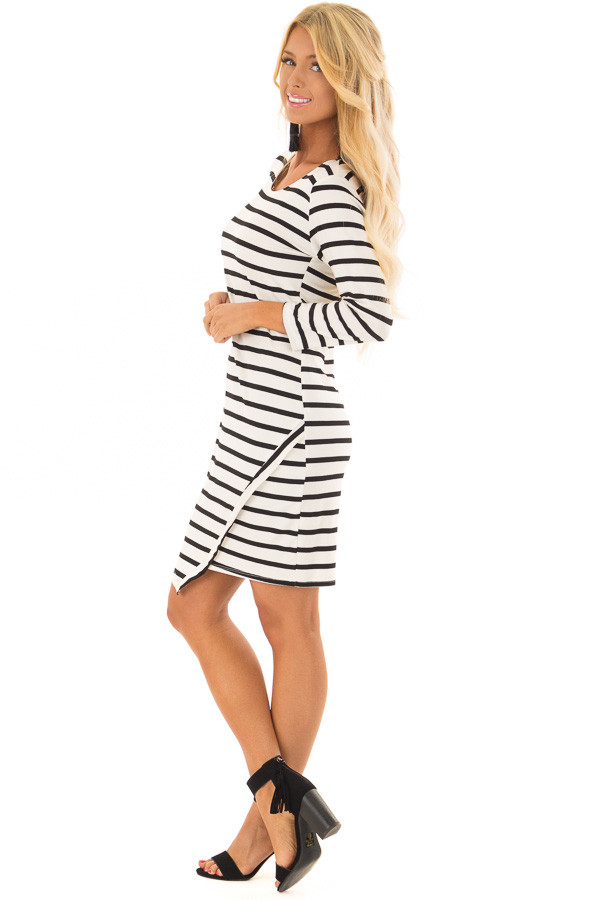 Black and Ivory Striped 3/4 Sleeve Dress side full body