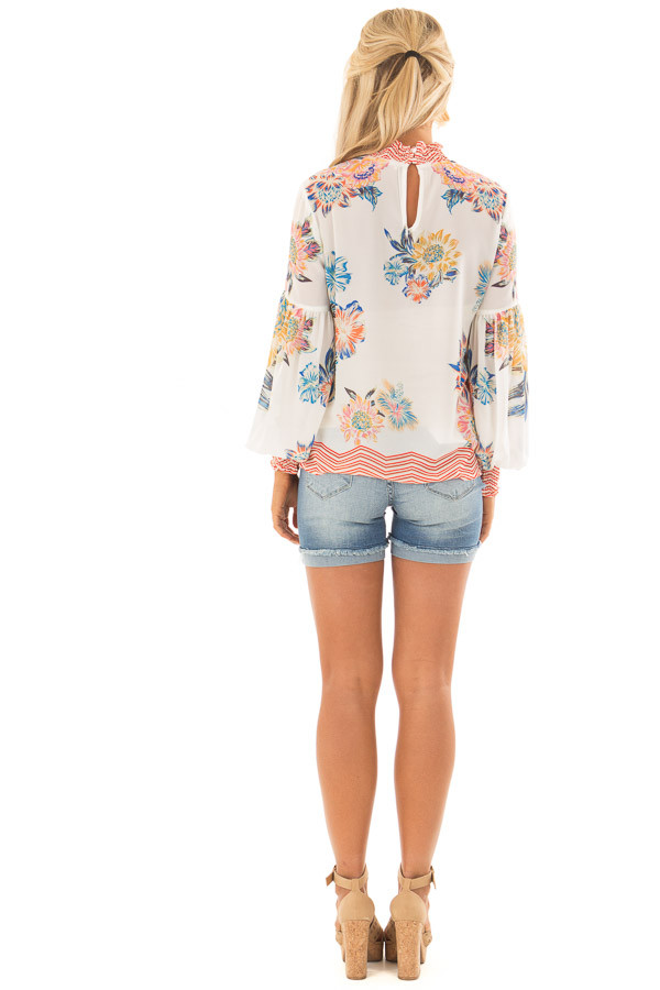 Ivory Floral and Chevron Print Blouse with Bishop Sleeves back full body