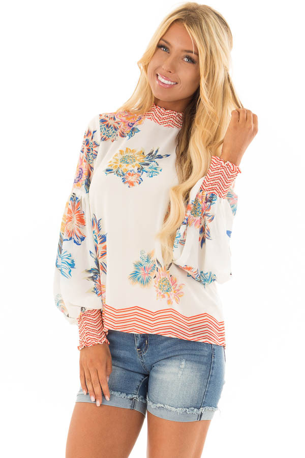 Ivory Floral and Chevron Print Blouse with Bishop Sleeves front closeup