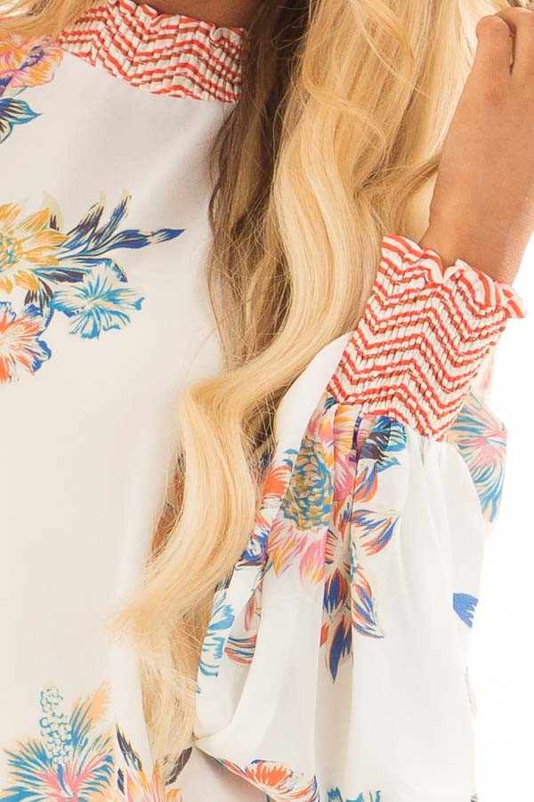 Ivory Floral and Chevron Print Blouse with Bishop Sleeves front detail