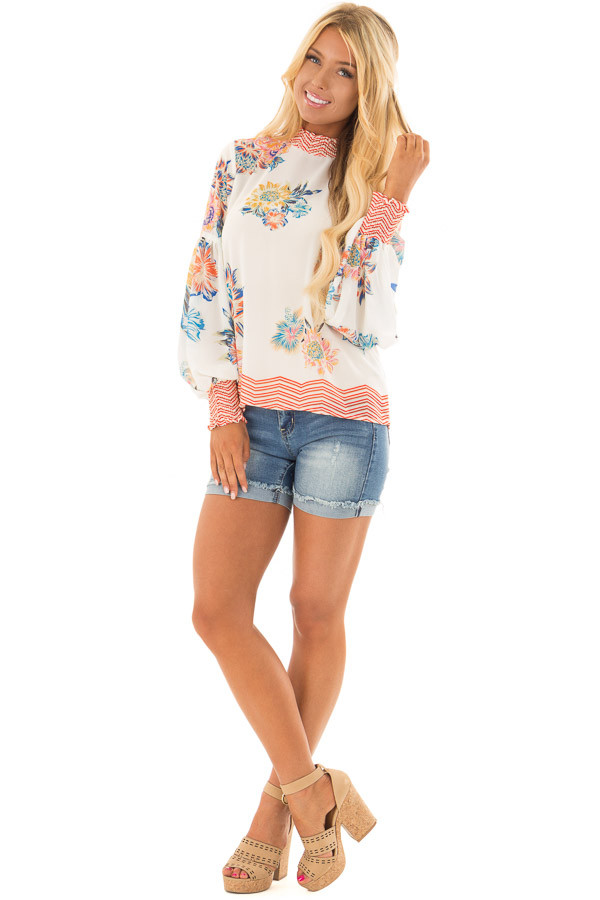 Ivory Floral and Chevron Print Blouse with Bishop Sleeves front full body