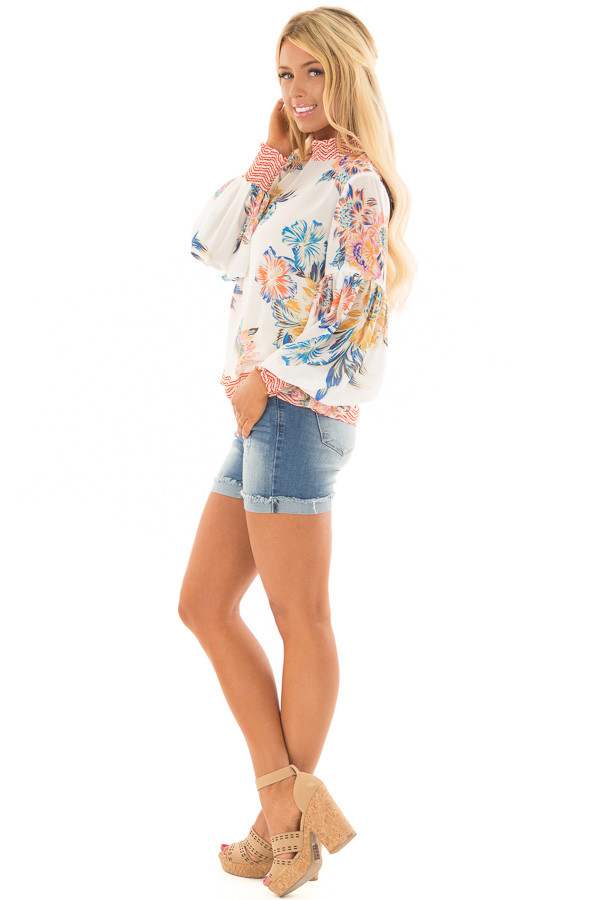 Ivory Floral and Chevron Print Blouse with Bishop Sleeves side full body