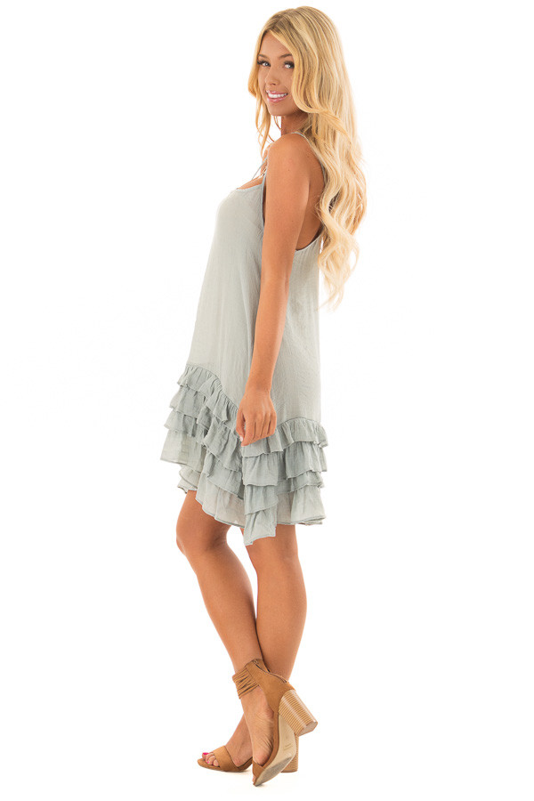 Stormy Blue Sleeveless Tunic with Layered Ruffle Hemline side full body