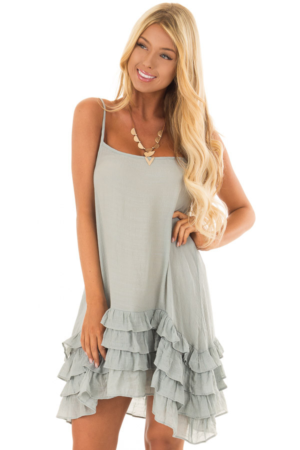 Stormy Blue Sleeveless Tunic with Layered Ruffle Hemline front closeup