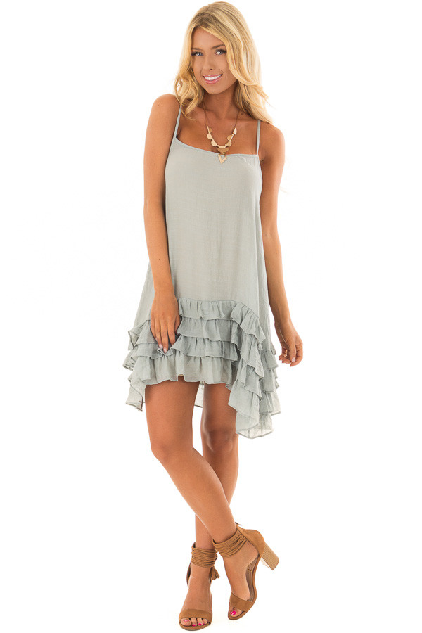 Stormy Blue Sleeveless Tunic with Layered Ruffle Hemline front full body