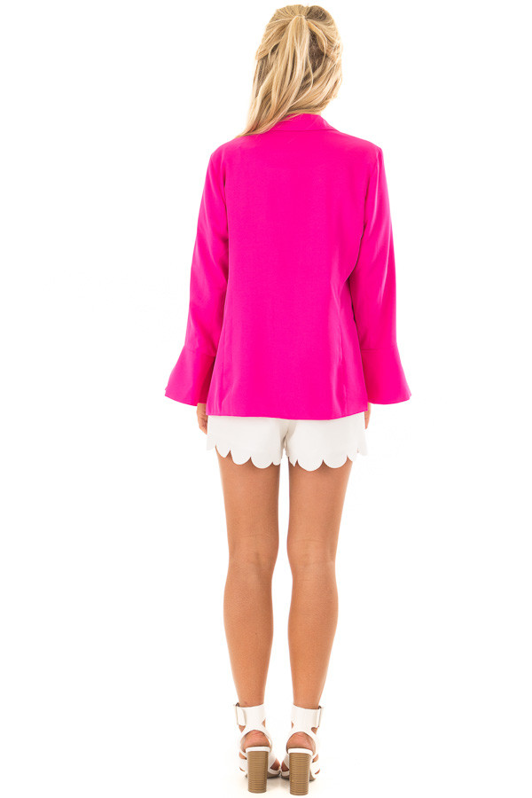 Hot Pink Open Blazer with Long Bell Sleeves back full body