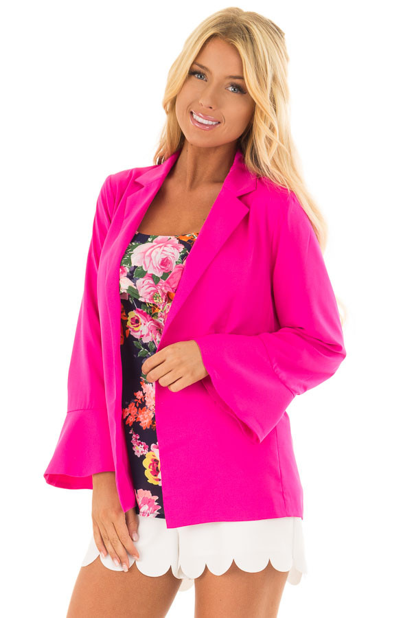 Hot Pink Open Blazer with Long Bell Sleeves front closeup