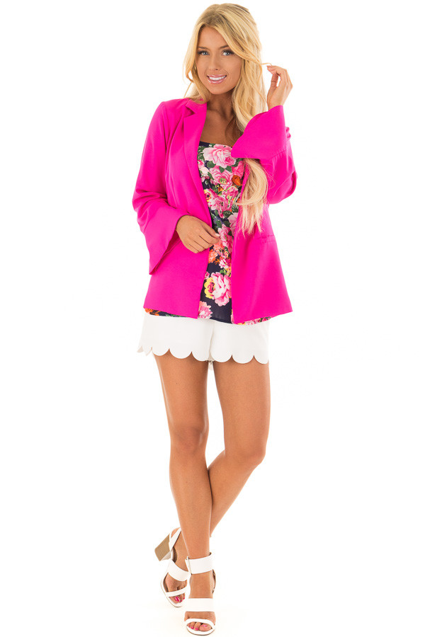 Hot Pink Open Blazer with Long Bell Sleeves front full body