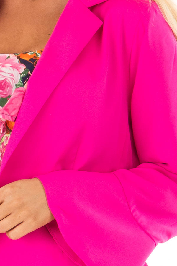 Hot Pink Open Blazer with Long Bell Sleeves front detail