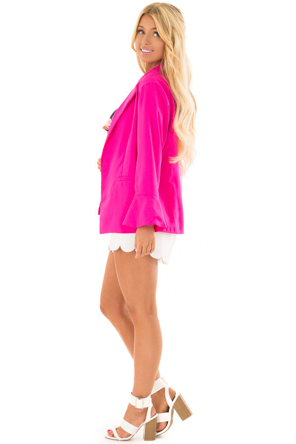 Hot Pink Open Blazer with Long Bell Sleeves side full body