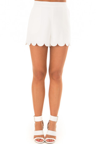 Off White Scalloped Hem Shorts with Side Pockets front
