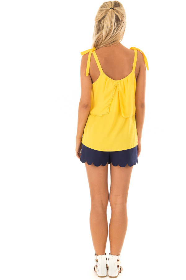 Golden Yellow Sleeveless Layered Top with Shoulder Ties back full body