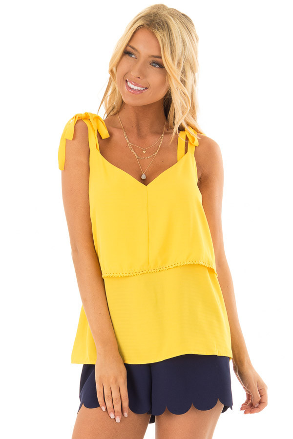 Golden Yellow Sleeveless Layered Top with Shoulder Ties front closeup
