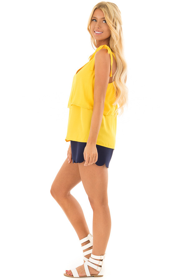 Golden Yellow Sleeveless Layered Top with Shoulder Ties side full body