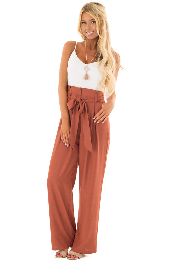 Bronze Jumpsuit with Waist Tie and Side Pockets front full body