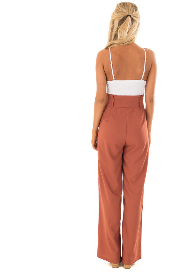 Bronze Jumpsuit with Waist Tie and Side Pockets back full body