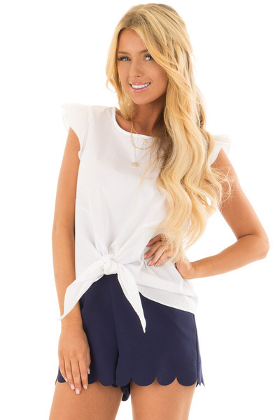 Off White Flutter Sleeve Top with Front Tie Detail front closeup