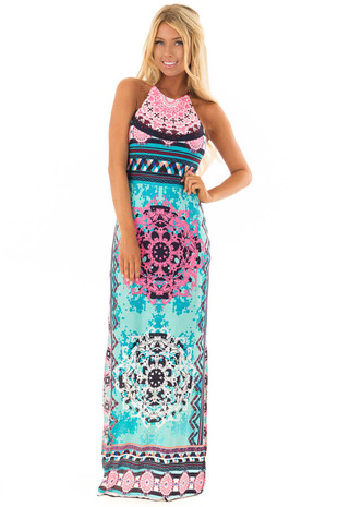 Multi Color Geometric Halter Top Maxi Dress with Side Slits front full body