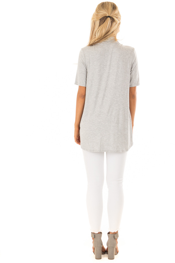 Heather Grey Short Sleeve Top with Drape Front back full body