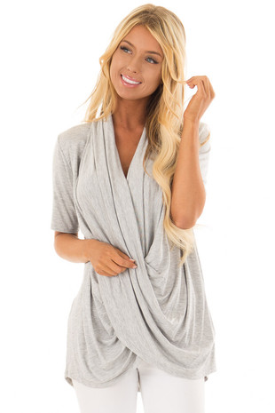 Heather Grey Short Sleeve Top with Drape Front front closeup