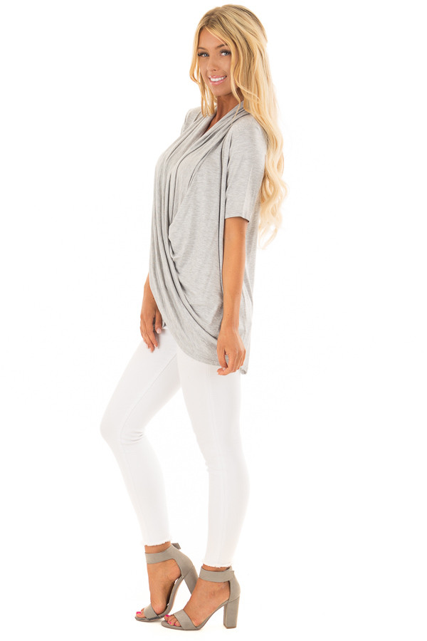 Heather Grey Short Sleeve Top with Drape Front side full body
