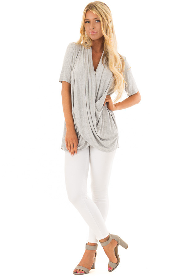 Heather Grey Short Sleeve Top with Drape Front front full body