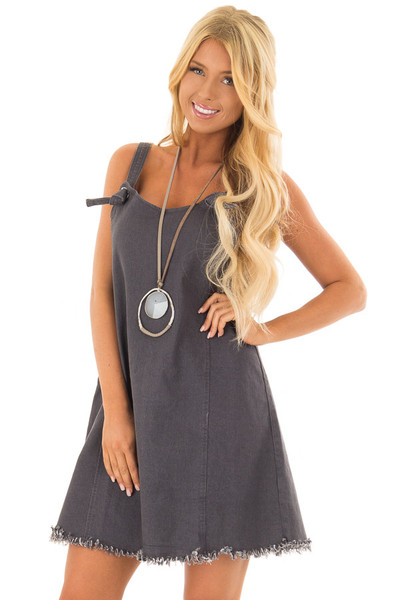 Dark Grey Denim Overall Dress with Knot Detail front closeup